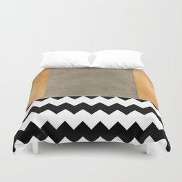 Shiny Copper Coffee Glaze And Black And White Chevron Pattern Duvet Cover