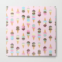 Pixel Ice Cream - Strawberry Metal Print