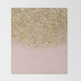 Pink and Gold Glitter Throw Blanket