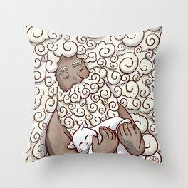 Cloud Beard Man Throw Pillow