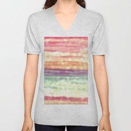 Whimsical Pastel Bokeh Stripes Unisex V-Neck
