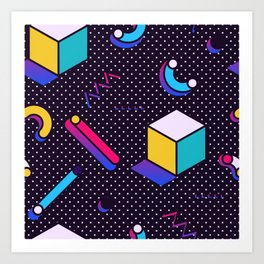 Bright Background in Neo Memphis Style Art Print