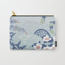 Elegant Light Blue Japanese Flower Garden Carry-All Pouch