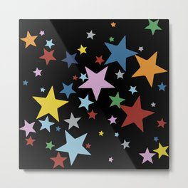 Multi Stars Black Metal Print