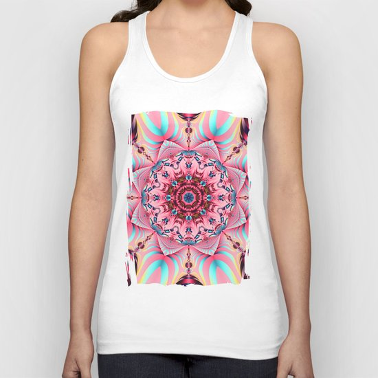 Blooming in Pink, floral kaleidoscope design Unisex Tank Top