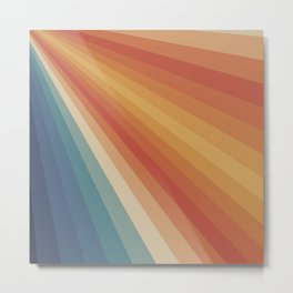 Retro 70s Sunrays Metal Print