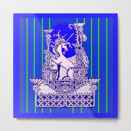 Blue Unicorn Thistle Abstract Design Metal Print