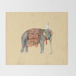 Elephant Ride on Sand Throw Blanket