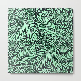 Green and black Vintage foliage seamless pattern for fine home decoration Metal Print