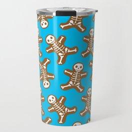 Skeleton Gingerbread Man Pattern Travel Mug