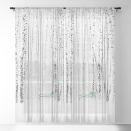 Green bench in white winter forest Sheer Curtain