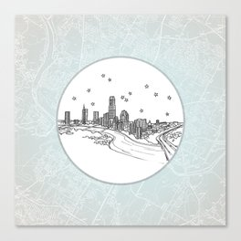 Austin, Texas City Skyline Illustration Drawing Canvas Print