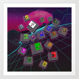 Retro 80s Synthwave Game Cartridge Collage Art Print