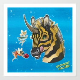 Goodnight Unicorn Zebra Art Print