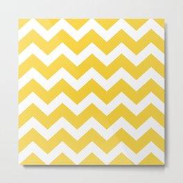Vintage Yellow and White Chevron Zig Zag Pattern Metal Print