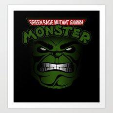 Green Rage Mutant Gamma Monster Art Print