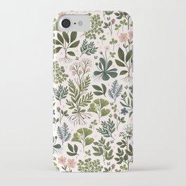 Herbarium ~ vintage inspired botanical art print ~ white iPhone Case