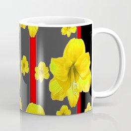 YELLOW AMARYLLIS BLACK-RED DECO ART Coffee Mug
