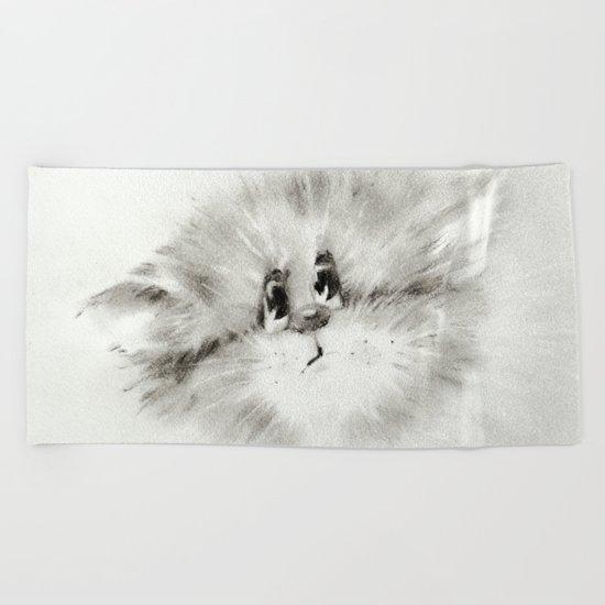 Surprised kitty Beach Towel