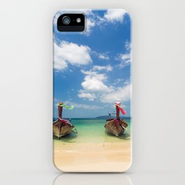 Long tail boats on the beach in Thailand iPhone Case