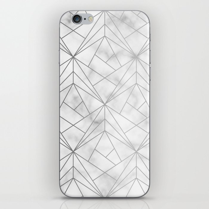 Geometric Silver Pattern on Marble Texture iPhone Skin