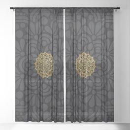 """Black & Gold Arabesque Mandala"" Sheer Curtain"
