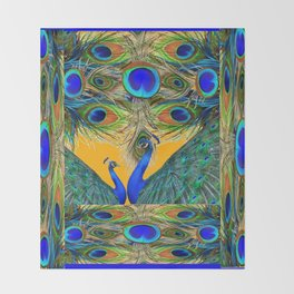 BLUE PEACOCKS  GOLDEN FEATHER DESIGN PATTERNS GN Throw Blanket