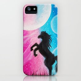 Horse in the moonlight iPhone Case