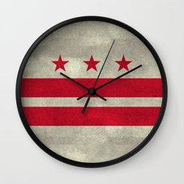 Washington D.C flag with worn textures Wall Clock