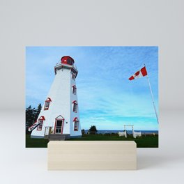 Panmure Island Lighthouse and Boat Mini Art Print