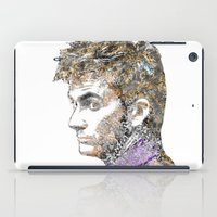david tennant iPad Cases featuring David Tennant Dr. Who Text portrait by Mike Clements