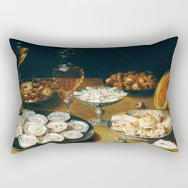Dishes with Oysters, Fruit, and Wine Rectangular Pillow