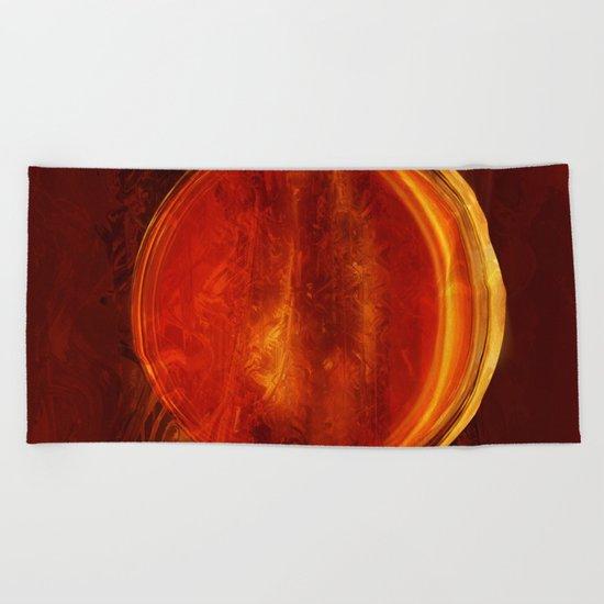 meditation orange Beach Towel