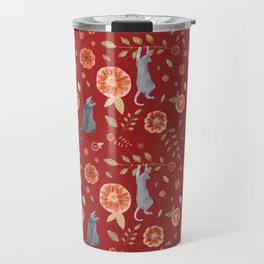 IT'S A CATS' WORLD! Burgundy Red Palette Travel Mug