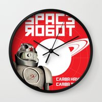 soviet Wall Clocks featuring Retro Soviet minimalism spacerobot   by Cardula
