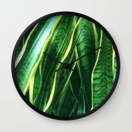 Tropical Lavish Leaves Chic Macro Close-Up Wall Clock