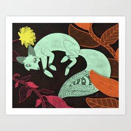 Turquoise Fox Art Print