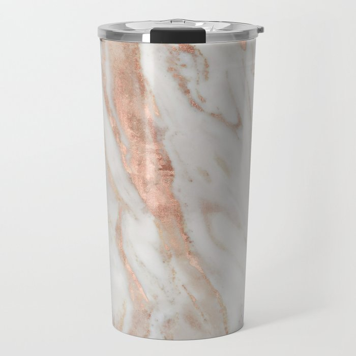 Rose Gold and White Marble 1 Travel Mug