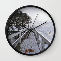 finland Wall Clocks featuring Frozen Finland by Chema G. Baena Art