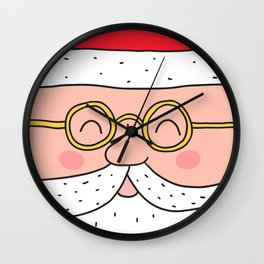 Happy Santa Claus face. Merry Christmas and Happy New Year! Wall Clock