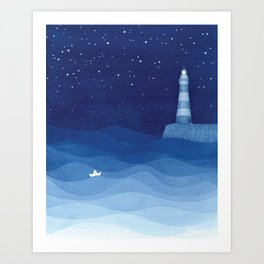 Lighthouse & the paper boat, blue ocean Art Print