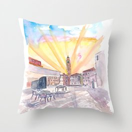 Quiet Campo Sant Angelo with View of Santo Stefano in Venice Throw Pillow