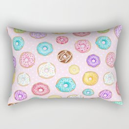 Scattered Rainbow Donuts on pale spotty pink - repeat pattern Rectangular Pillow