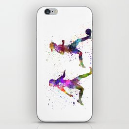 Girls playing soccer football player silhouette iPhone Skin