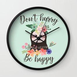 SLOTH ADVICE (mint green) - DON'T HURRY, BE HAPPY! Wall Clock