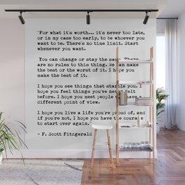 F Scott Fitzgerald quote Wall Mural