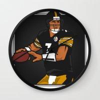 steelers Wall Clocks featuring Big Ben - Steelers QB by lockerroom51