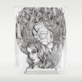 JennyMannoArt GRAPHITE DRAWING/FAIRIE Shower Curtain