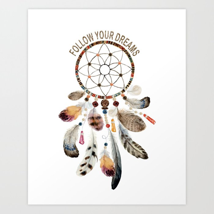 Elegant Watercolour Dreamcatcher Follow Your Dreams Typography Art Print By Art4sharing Society6
