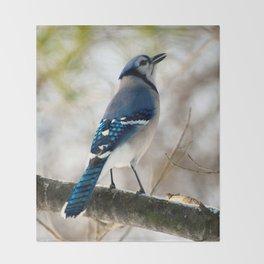 Blue Jay Calling Throw Blanket